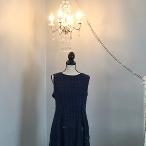 Navy blue, lace, high-low dress